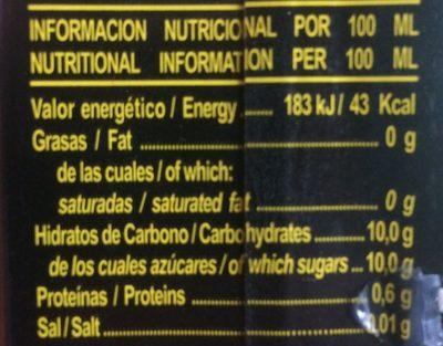 Zumo naranja - Informació nutricional
