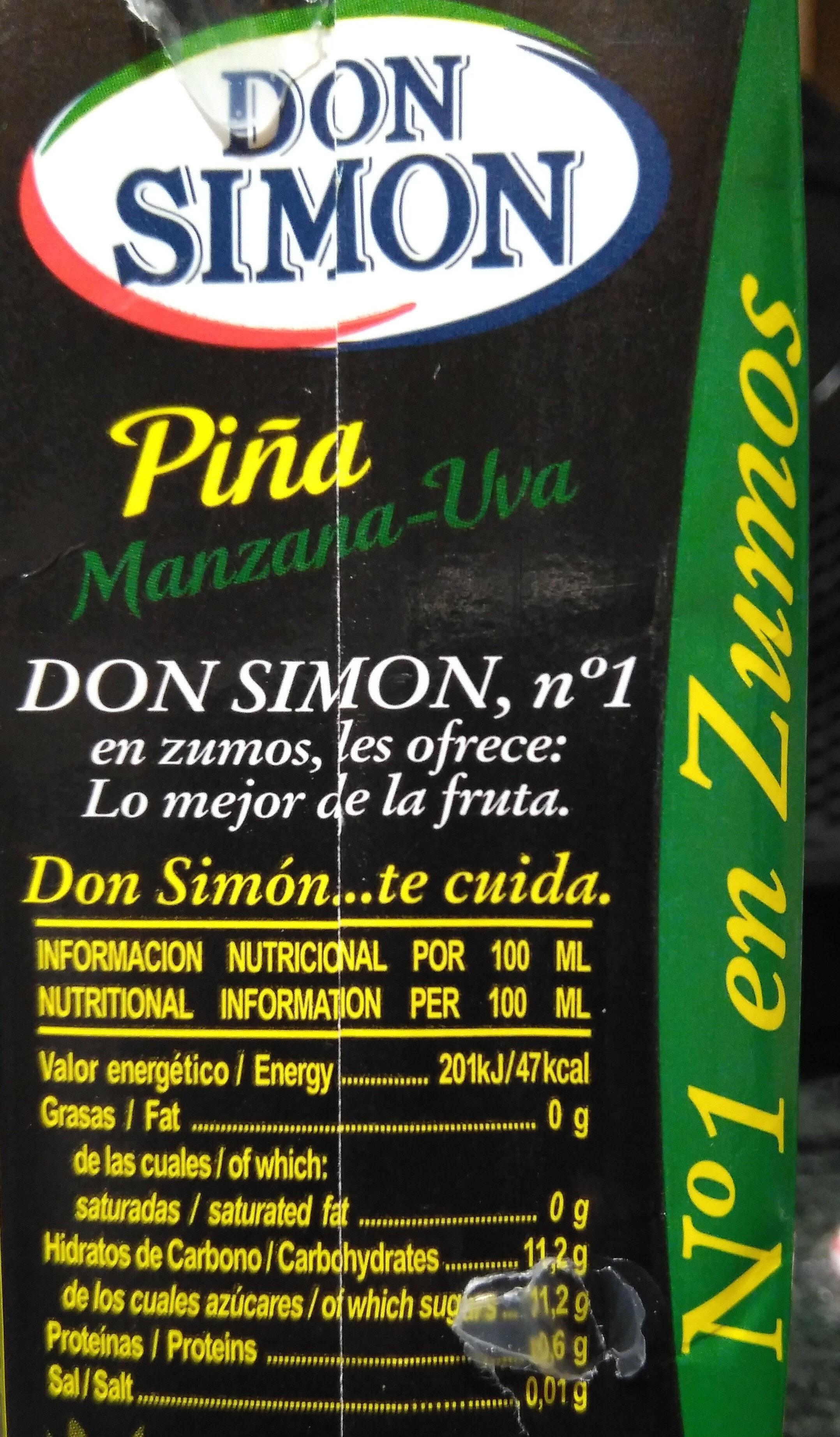 Zumo de piña manzana y uva briks - Informations nutritionnelles - pt
