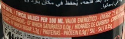 Jus de tomate - Información nutricional