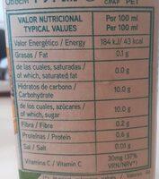 Naranja 100% exprimido - Información nutricional - es