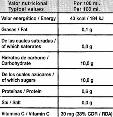 Zumo de Naranja Exprimida con pulpa - Nutrition facts
