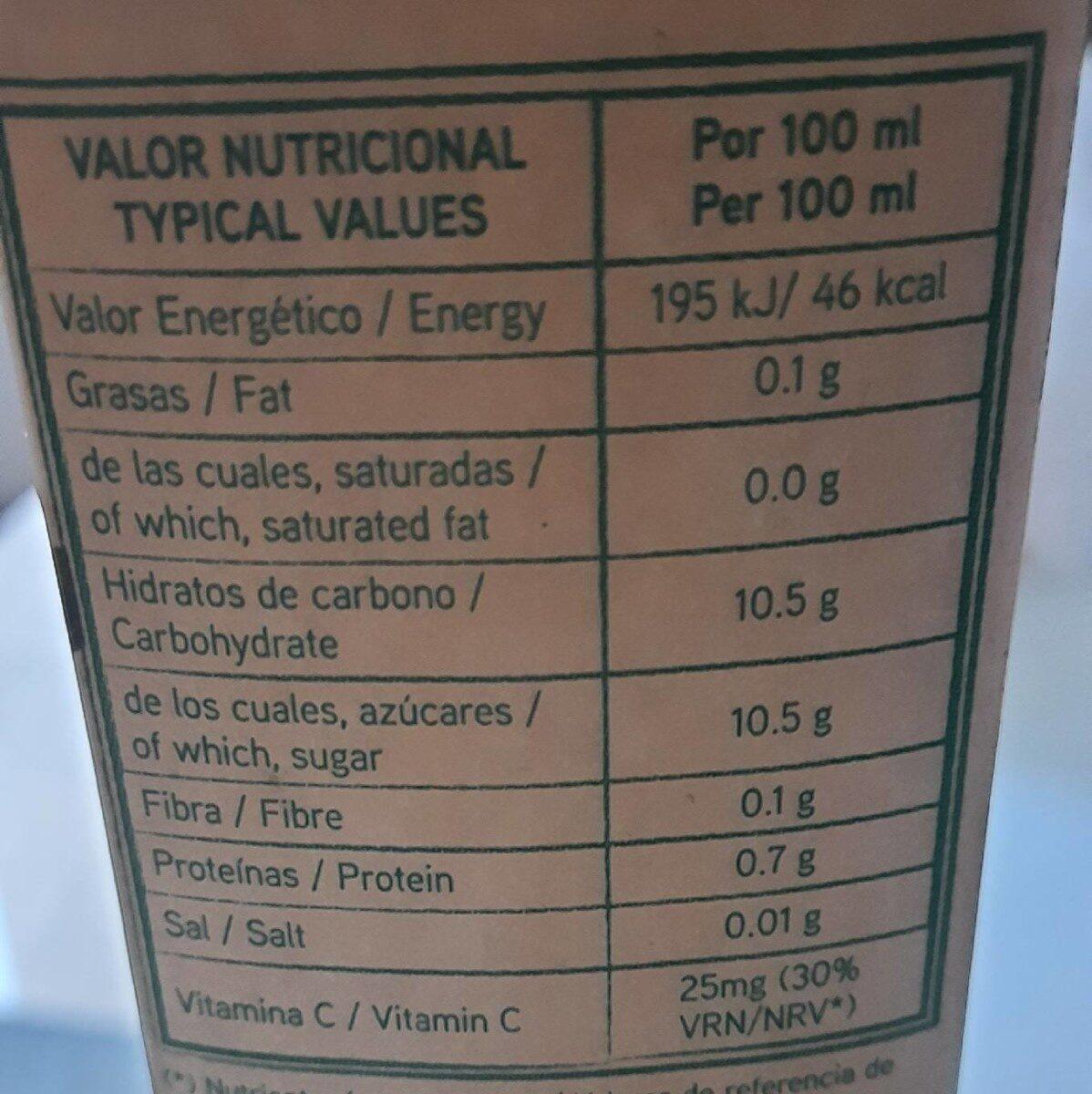 Zumo mandarina 100% exprimido - Información nutricional - es