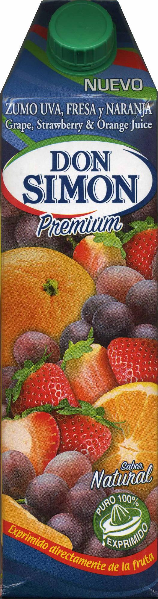 Zumo de uva, fresa y naranja exprimido - Producto