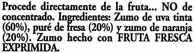 Zumo de uva, fresa y naranja exprimido - Ingredients - es