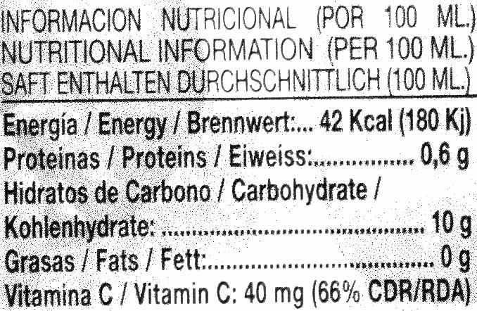Zumo de naranja exprimida ecológico - Información nutricional
