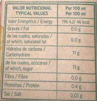 Zumo 100% exprimido - Informations nutritionnelles - es