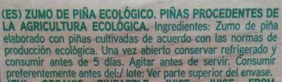 Zumo de Piña Ecológico - Ingrédients - es