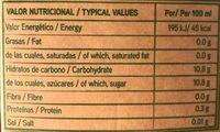 Zumo de manzana ecológico - Informació nutricional