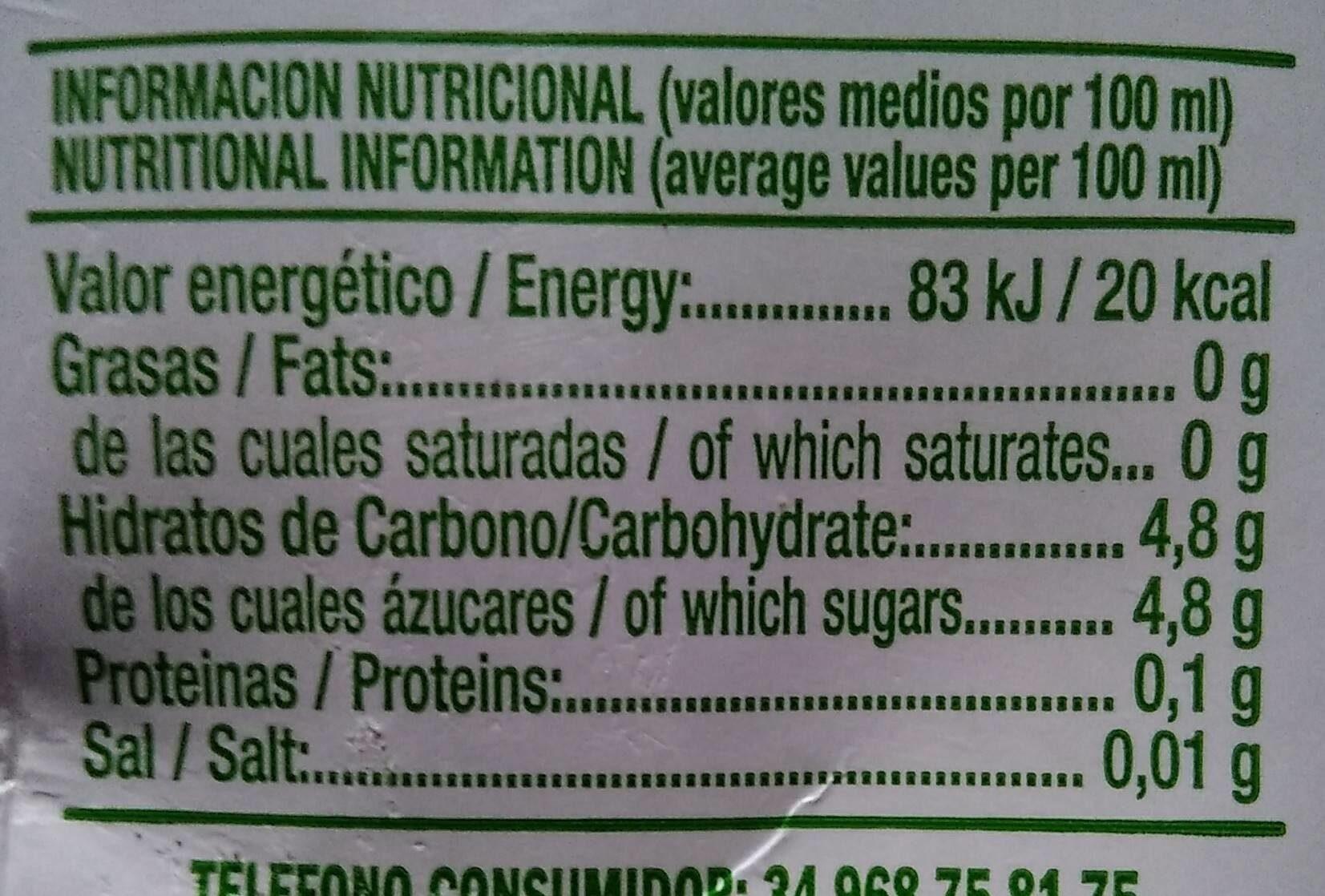 Citronade light - Información nutricional