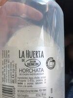 Horchata de chufa pasteurizada - Ingrédients - es
