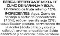 Soja sabot naranja - Ingredients - es
