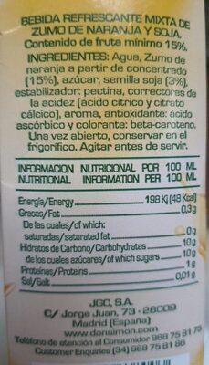 Soja sabot naranja - Informations nutritionnelles - es