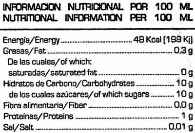 Soja sabor melocoton - Información nutricional - es