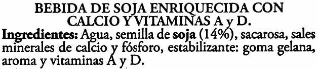 Bebida de soja Don Simón Natural - Ingredients
