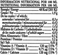 Soy Don Simón Soja Natural - Pack de 6 - Información nutricional