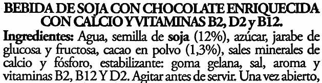 Soy Don Simón Soja Chocolate - Ingredientes