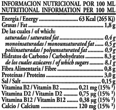 Soy Don Simón Soja Chocolate - Información nutricional