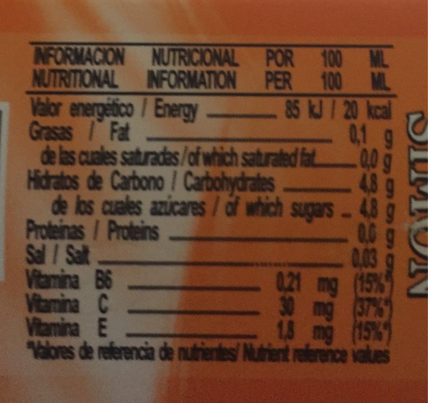 Bebida de zumo de naranja sin gas sin gluten - Nutrition facts