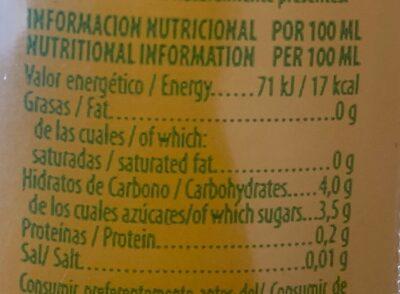 Zumo de. mango - Informations nutritionnelles - es