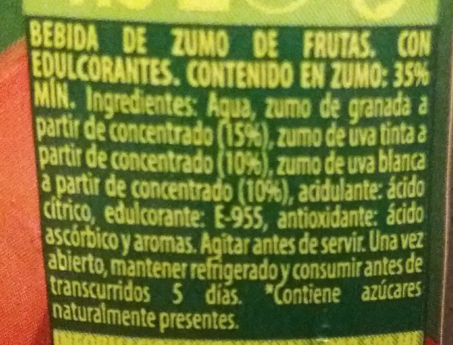 Granada y uva sin azúcares añadidos - Ingrediënten