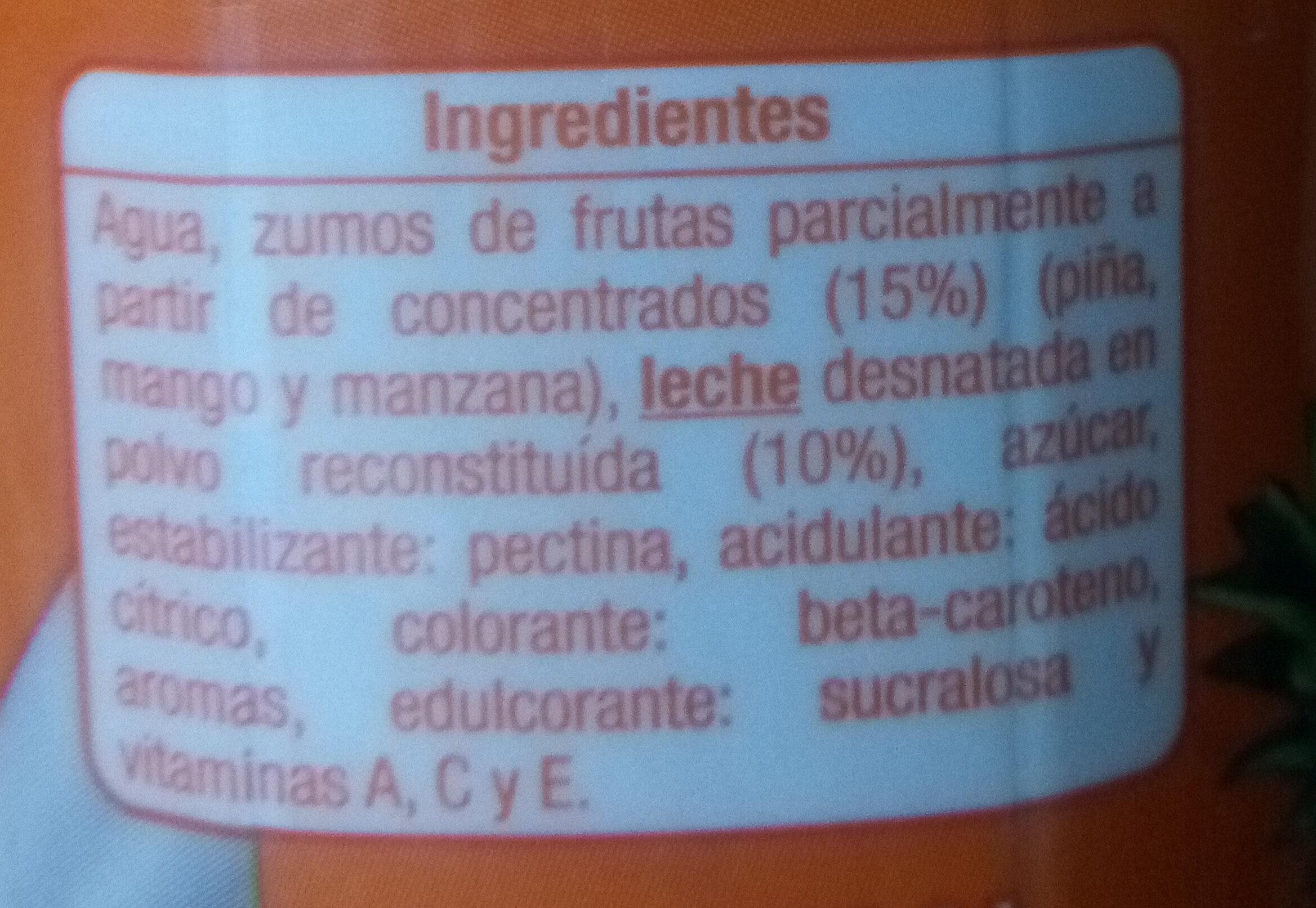 Zumo + Leche Tropical - Ingredientes