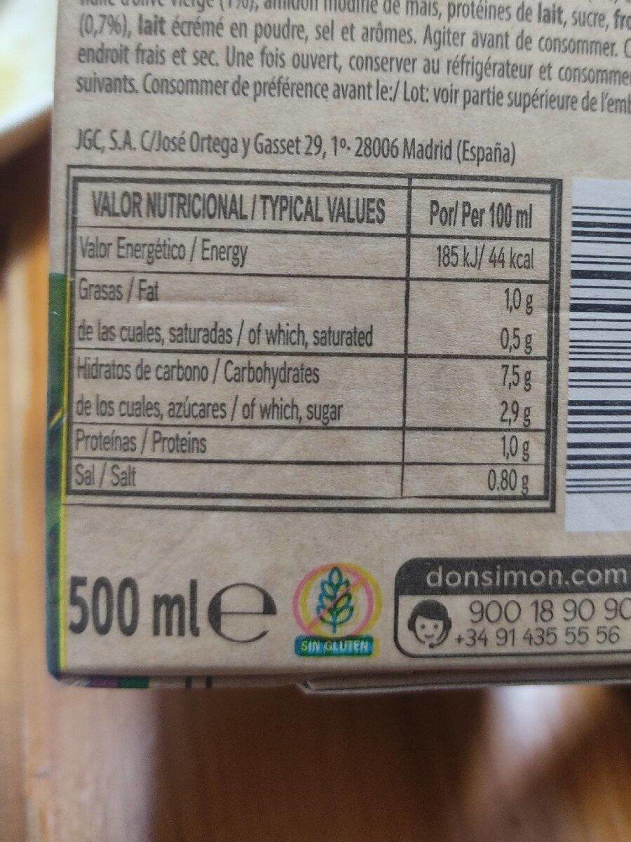 Crema de calabacin - Informations nutritionnelles - es