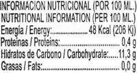 Zumo de piña exprimido refrigerado - Nutrition facts - es