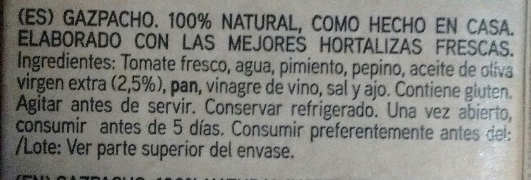 Gazpacho Suave - Ingredientes - es