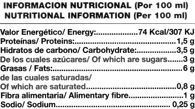 Gazpacho Gourmet - Información nutricional - es