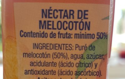 Mélocotón  Néctar de melòcoton - Ingredients