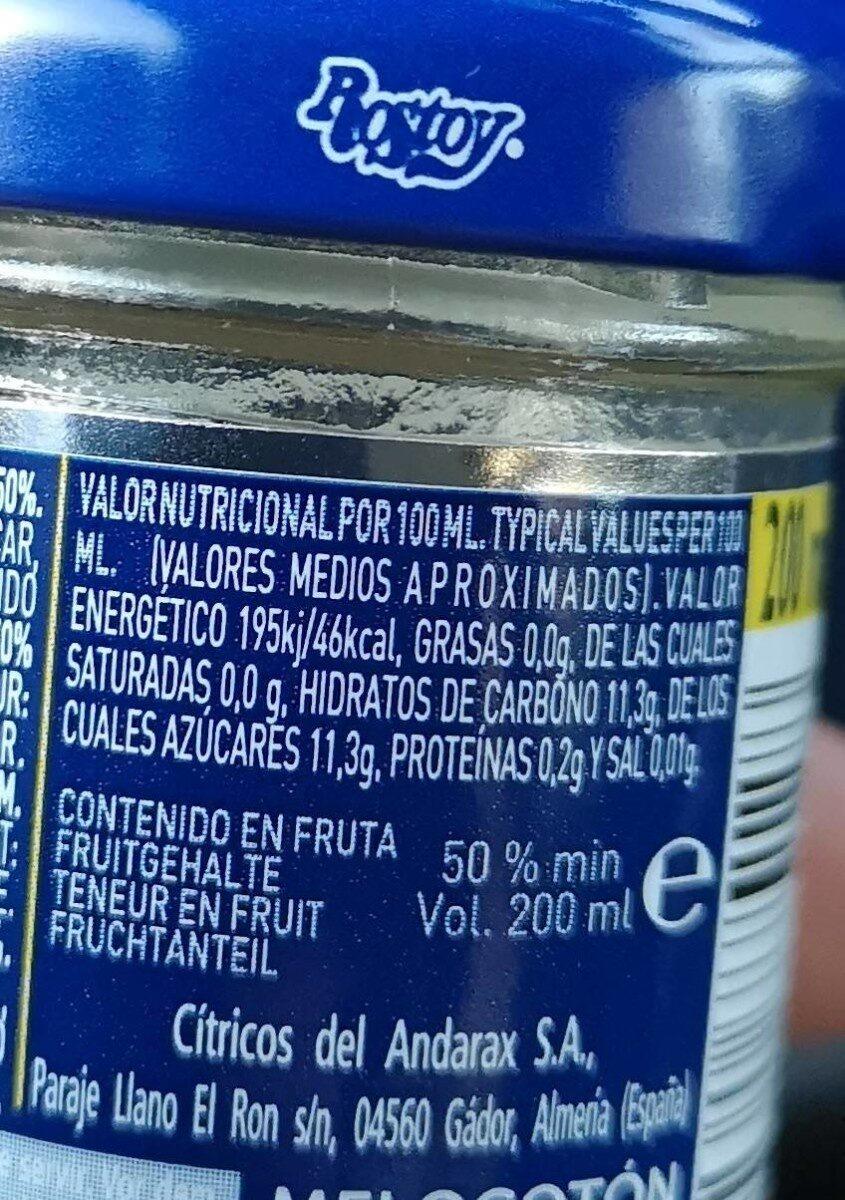 Zumo de melocotón - Informations nutritionnelles - es