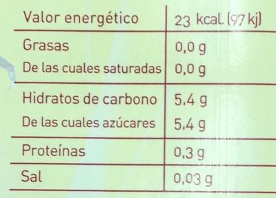 Néctar de piña - Información nutricional