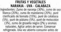 Bebida de frutas y vegetales - Ingredients