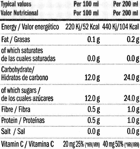 Bebida de frutas y vegetales - Informació nutricional