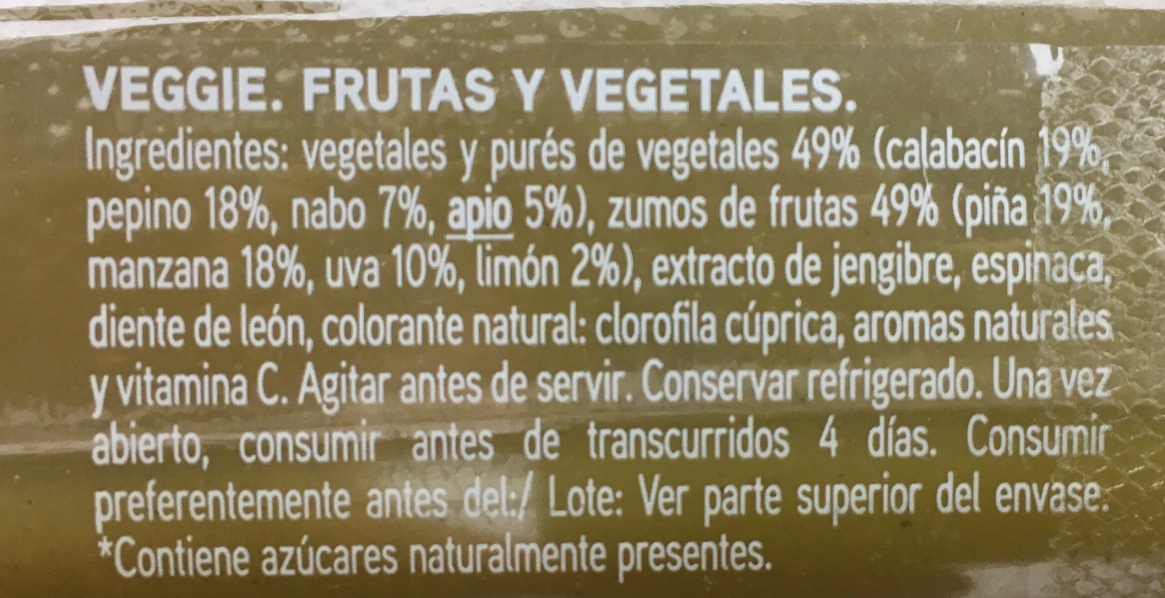 Zumo 100% Exprimido Veggies - Ingredients