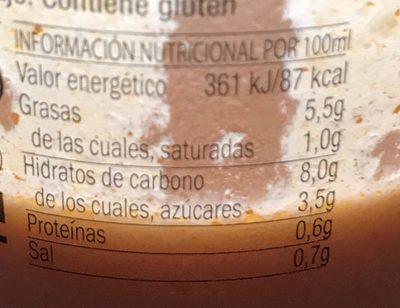 La huerta salmorejo - Información nutricional - fr