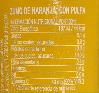 La huerta Naranja don Simon - Voedingswaarden