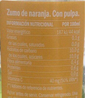 Zumo de naranja, con pulpa - Informations nutritionnelles - es