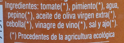 Gazpacho ecólogico - Ingredientes - es