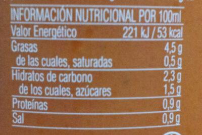 Gazpacho ecólogico - Información nutricional - es