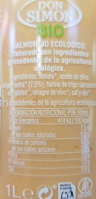 Salmorejo ecológico - Ingredientes