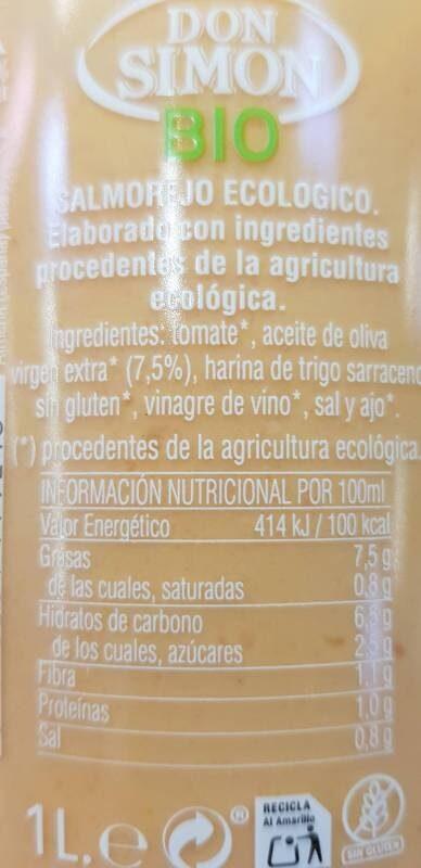 Salmorejo ecológico - Ingredientes - es