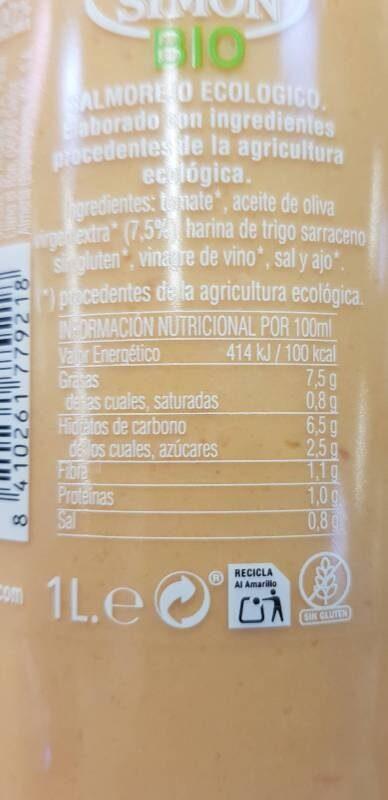 Salmorejo ecológico - Información nutricional - es