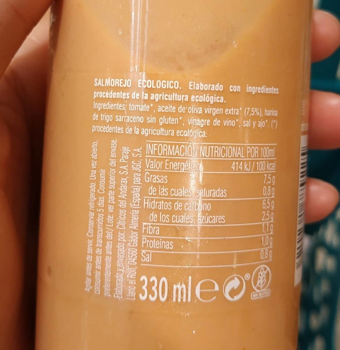 Salmorejo ecológico - Informations nutritionnelles - es