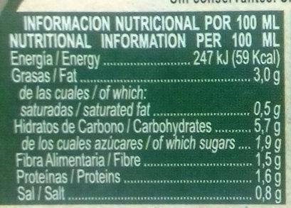 La huerta de Don Simon- Cremas Verduras - Informations nutritionnelles