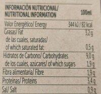 Crema de lentejas - Informations nutritionnelles - es