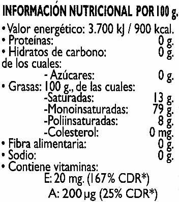 """Aceite de oliva virgen extra """"Koipe"""" - Informació nutricional"""