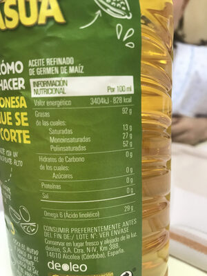 Aceite de maíz botella 1 l - Información nutricional