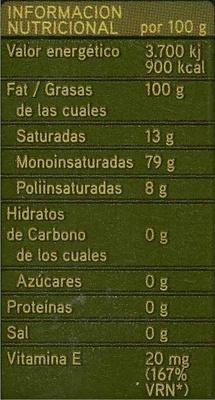 """Aceite de oliva virgen extra """"Koipe"""" - Voedigswaarden"""