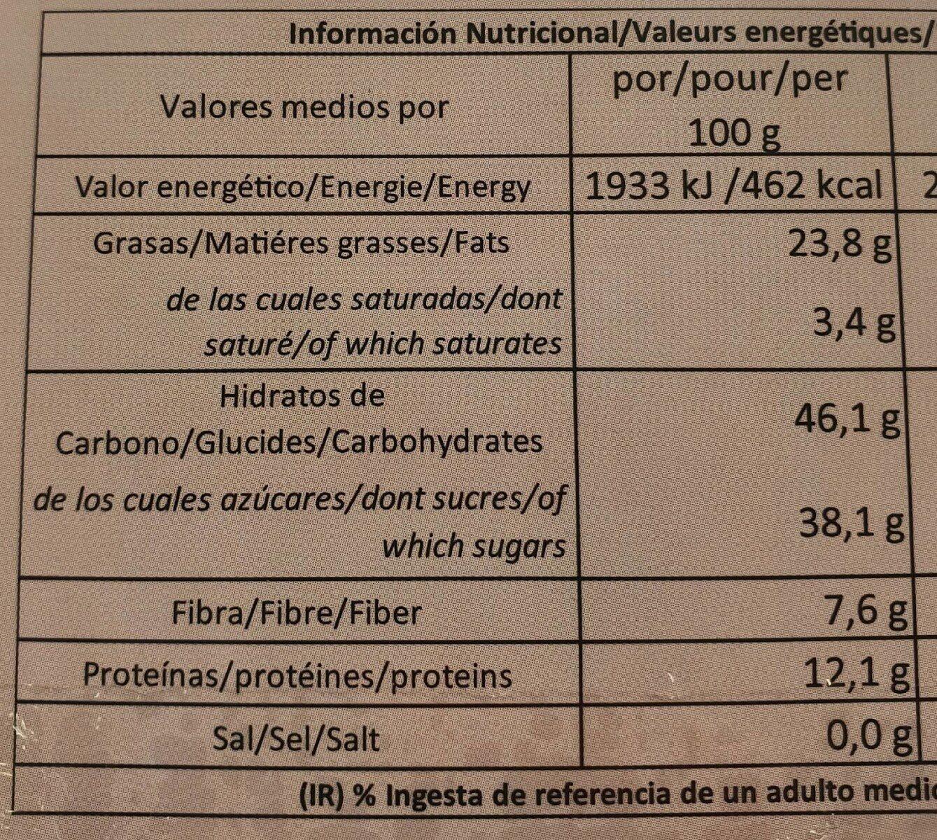 Alfajores de almendra y miel - Información nutricional - en